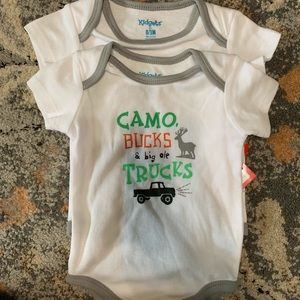 Baby boy onesie camo bucks and big old trucks